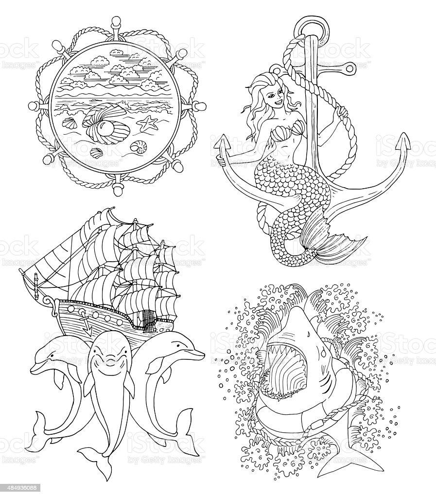 Set with silhouettes of marine symbols and tattoo stock vector art set with silhouettes of marine symbols and tattoo royalty free set with silhouettes of marine buycottarizona Choice Image