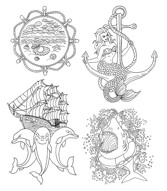 Set with silhouettes of marine symbols and tattoo vector art illustration