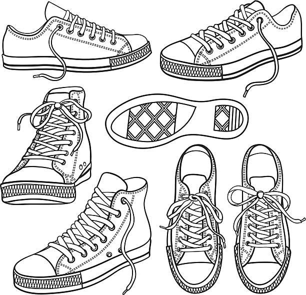 ilustrações, clipart, desenhos animados e ícones de conjunto com tênis isolada no branco - tênis