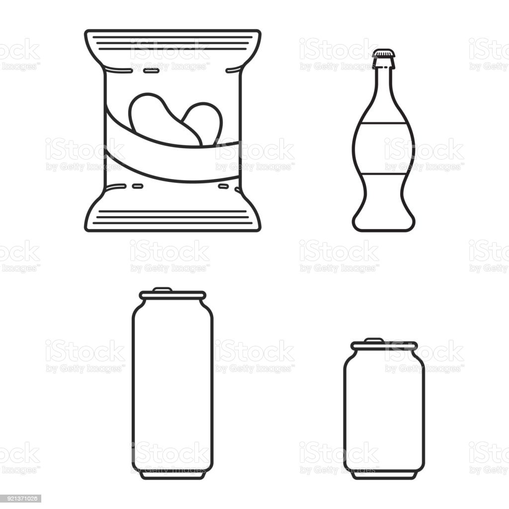 Set with soda, beer and crisps in line style vector art illustration