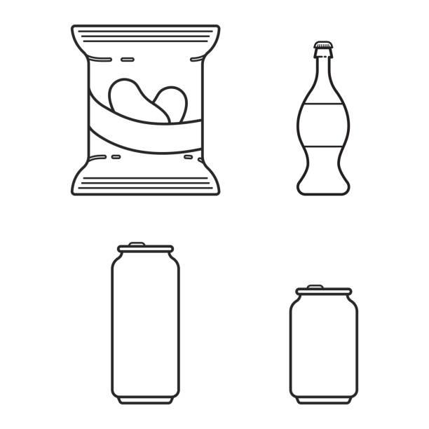 illustrazioni stock, clip art, cartoni animati e icone di tendenza di set with soda, beer and crisps in line style - latte