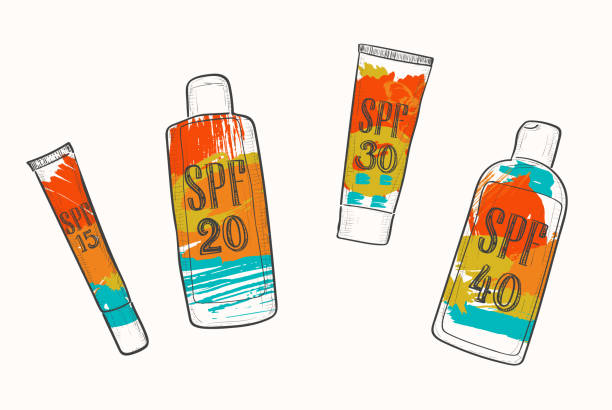 ilustrações de stock, clip art, desenhos animados e ícones de set with spf sunscreen cosmetics, sketch in doodle style. sun protection factor for summer face and body care, icons with bright grunge watercolor stains - protetor solar