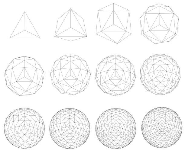 Set with spheres A set with spheres transforming from a simple form to a complex form. Sequence of geometric shapes. Vector illustration. website wireframe stock illustrations