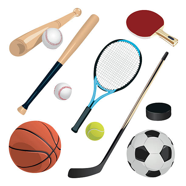 set with sports equipment - sports equipment stock illustrations, clip art, cartoons, & icons
