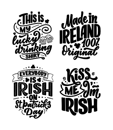 Set with St. Patrick's Day quotes, typography greeting cards template. Lettering slogans for print, t-shirt, festive design element. Vector