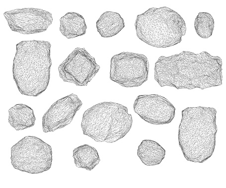 Set with stones of different shapes isolated on white background. Wireframe of stones. 3D. Vector illustration.