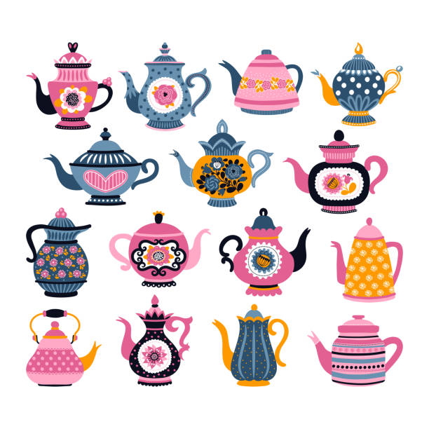 Set with teapots Set with teapots. Can be used for scrapbook, postcards, print, etc. teapot stock illustrations