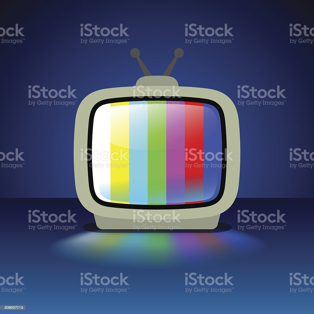 TV Set With Test Pattern vector art illustration