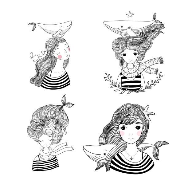 ilustraciones, imágenes clip art, dibujos animados e iconos de stock de conjunto con los marineros de las niñas. tema marino. sirenas dibujos animados. animales del mar. - tatuajes de sirenas
