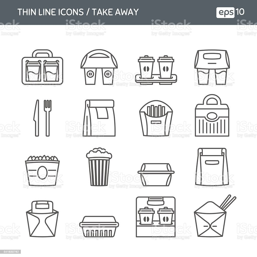Set with thin line icons. Fast food. Take away vector art illustration