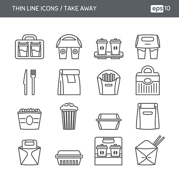 set with thin line icons. fast food. take away - junk food stock illustrations, clip art, cartoons, & icons