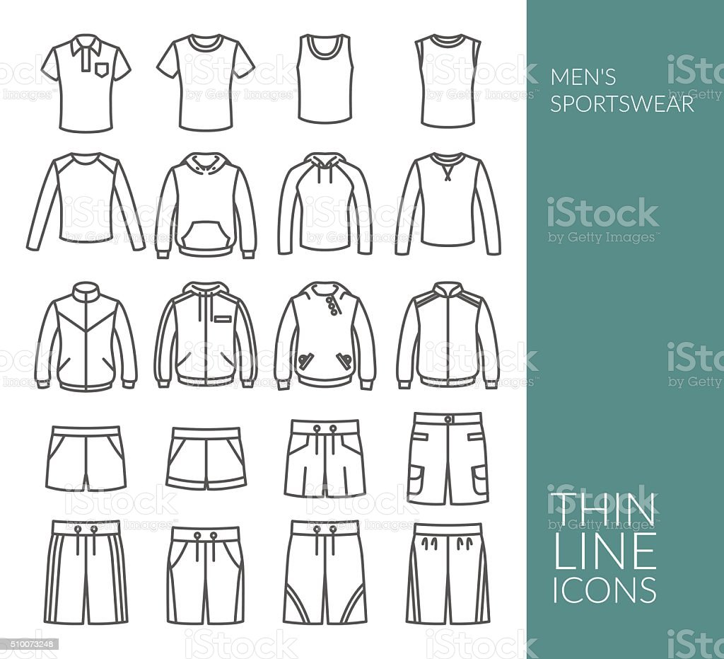 Set with thin line icons on Men's Sportswear theme vector art illustration