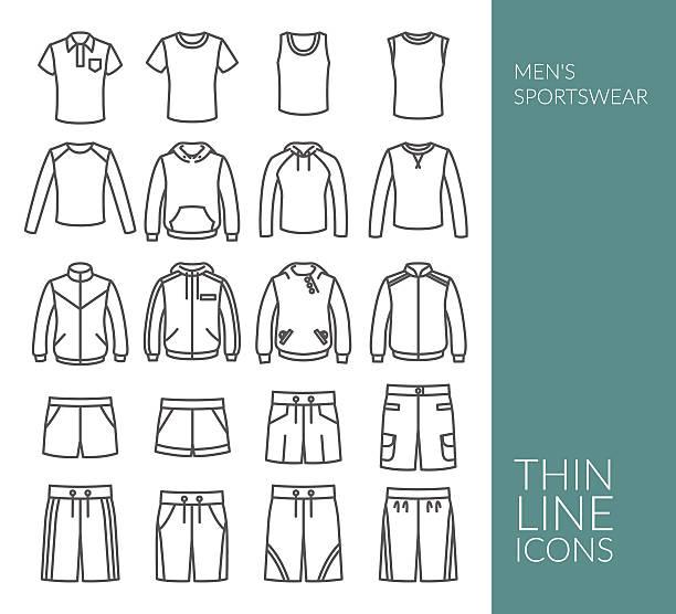 stockillustraties, clipart, cartoons en iconen met set with thin line icons on men's sportswear theme - sportkleding