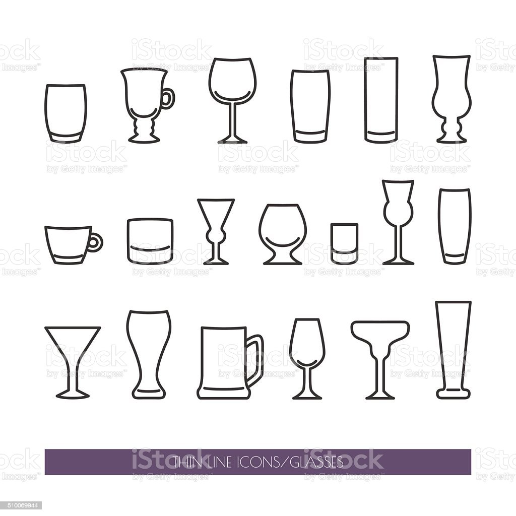 Ensemble Dicônes Avec Fines Lignes Avec Différents Types De Verres Vecteurs  libres de droits et plus d'images vectorielles de Alcool - iStock