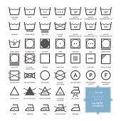 Set with thin line washing icons and laundry symbols