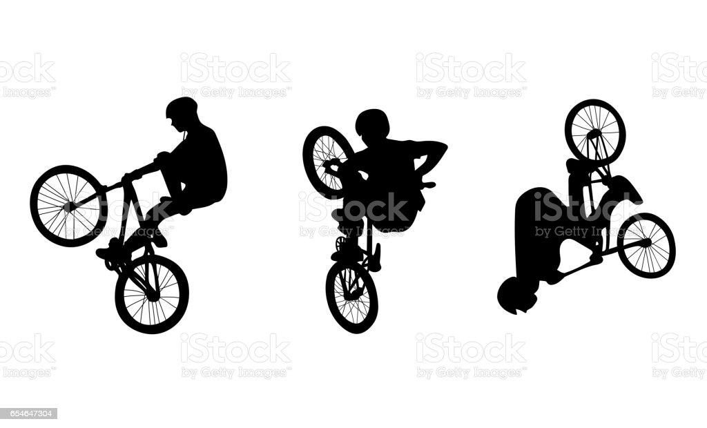 Set with three cyclists doing stunts on white background vector art illustration