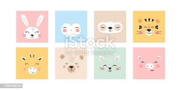 Set with trendy cute animals. Funny animal faces. Perfect for textiles, prints, posters and more. All objects are isolated and grouped. Colorful Cartoon Flat Vector