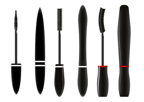Set with tubes of mascara and brushes isolated on white background. Vector illustration