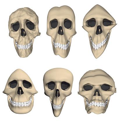 Set with twisted cartoon skulls. 3D. Vector illustration