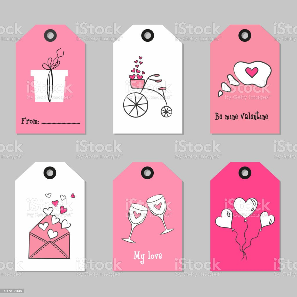 Set With Valentines Day Tags Stock Illustration Download Image