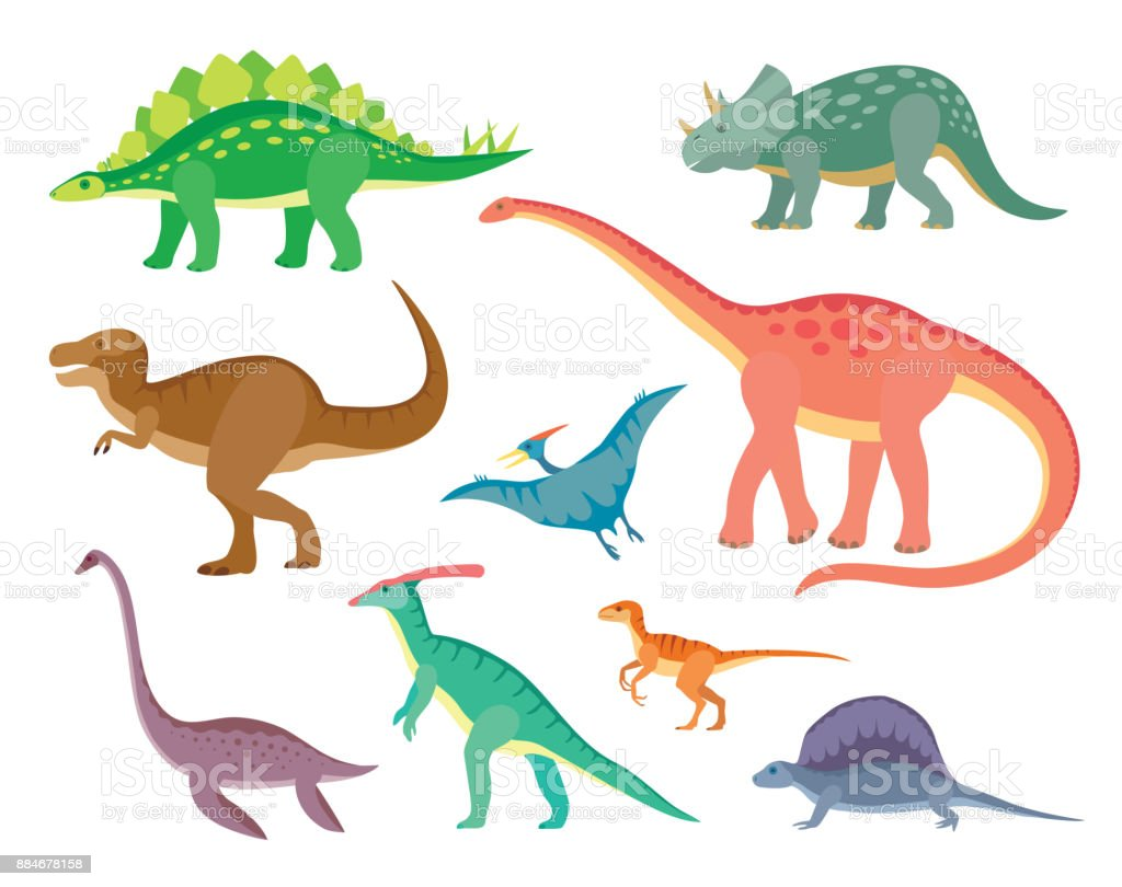 Set with various kinds of colored painted dinosaurs vector art illustration