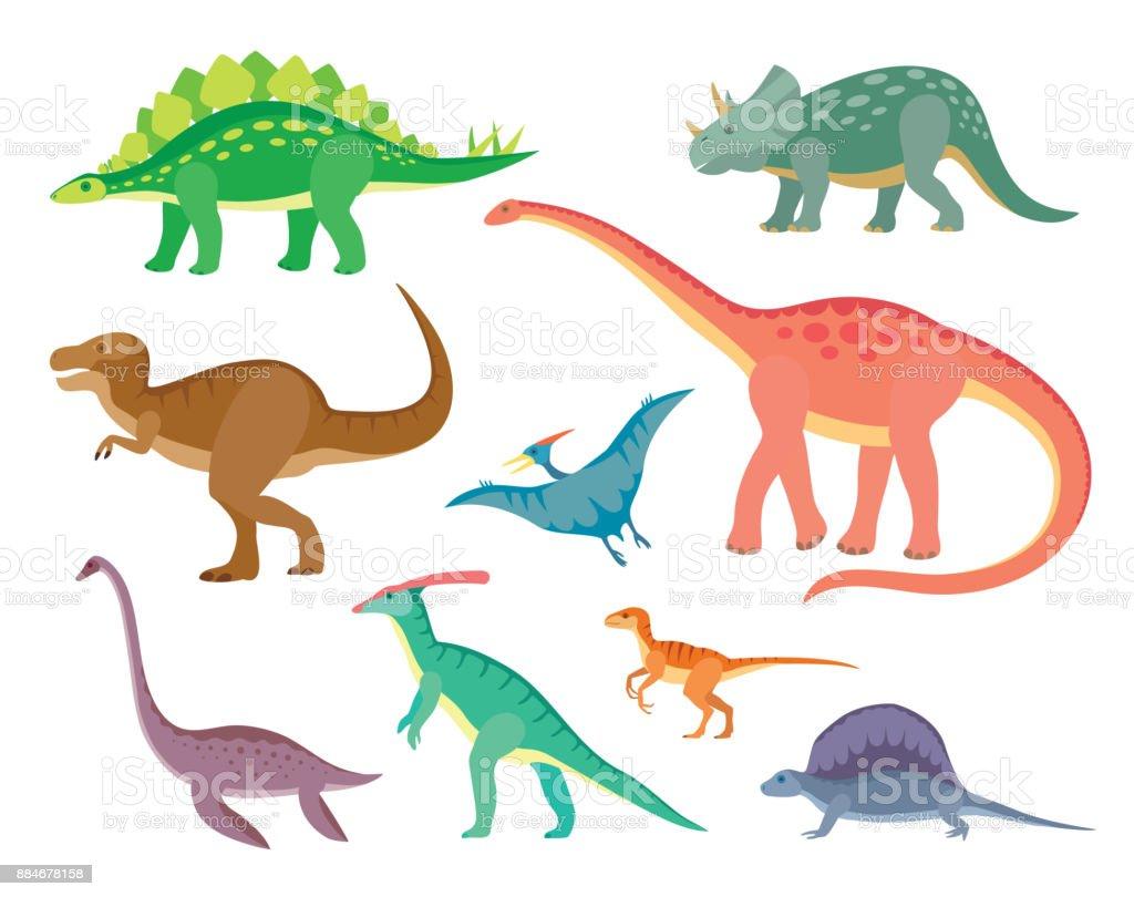 Conjunto com vários tipos de dinossauros pintados coloridos - ilustração de arte em vetor