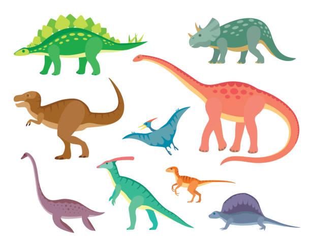 ilustrações, clipart, desenhos animados e ícones de conjunto com vários tipos de dinossauros pintados coloridos - dinossauro