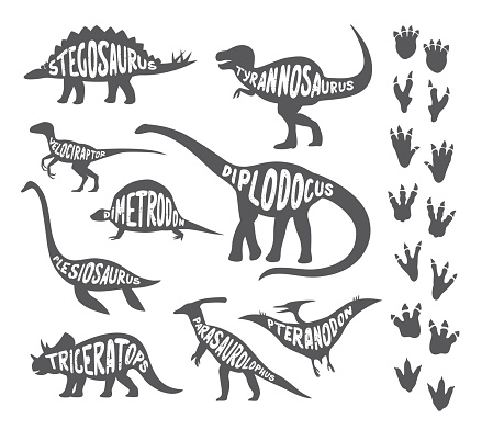 Set with various kinds of painted dinosaurs and footprints