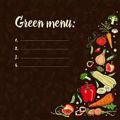 Set with vegetables on a dark background.Eco food. green menu. Vector