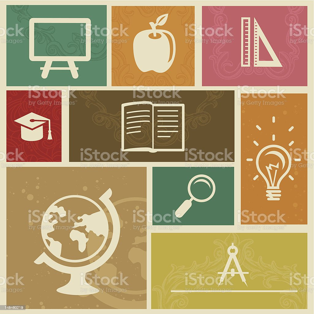Set with vintage education labels - vector illustration royalty-free set with vintage education labels vector illustration stock vector art & more images of apple - fruit
