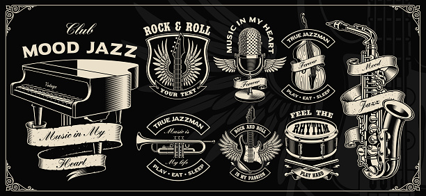 Set with vintage vector design of music instruments.