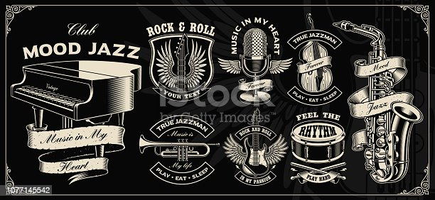 Set with vintage vector design of music instruments on the dark background.