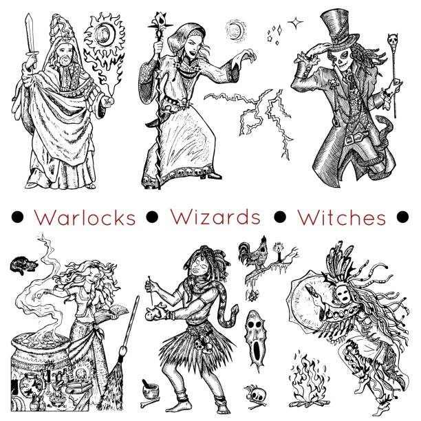Set with warlocks and magicians Graphic collection with hand drawn characters of warlocks, wizards and witches. Vector illustrations, doodle drawings voodoo stock illustrations