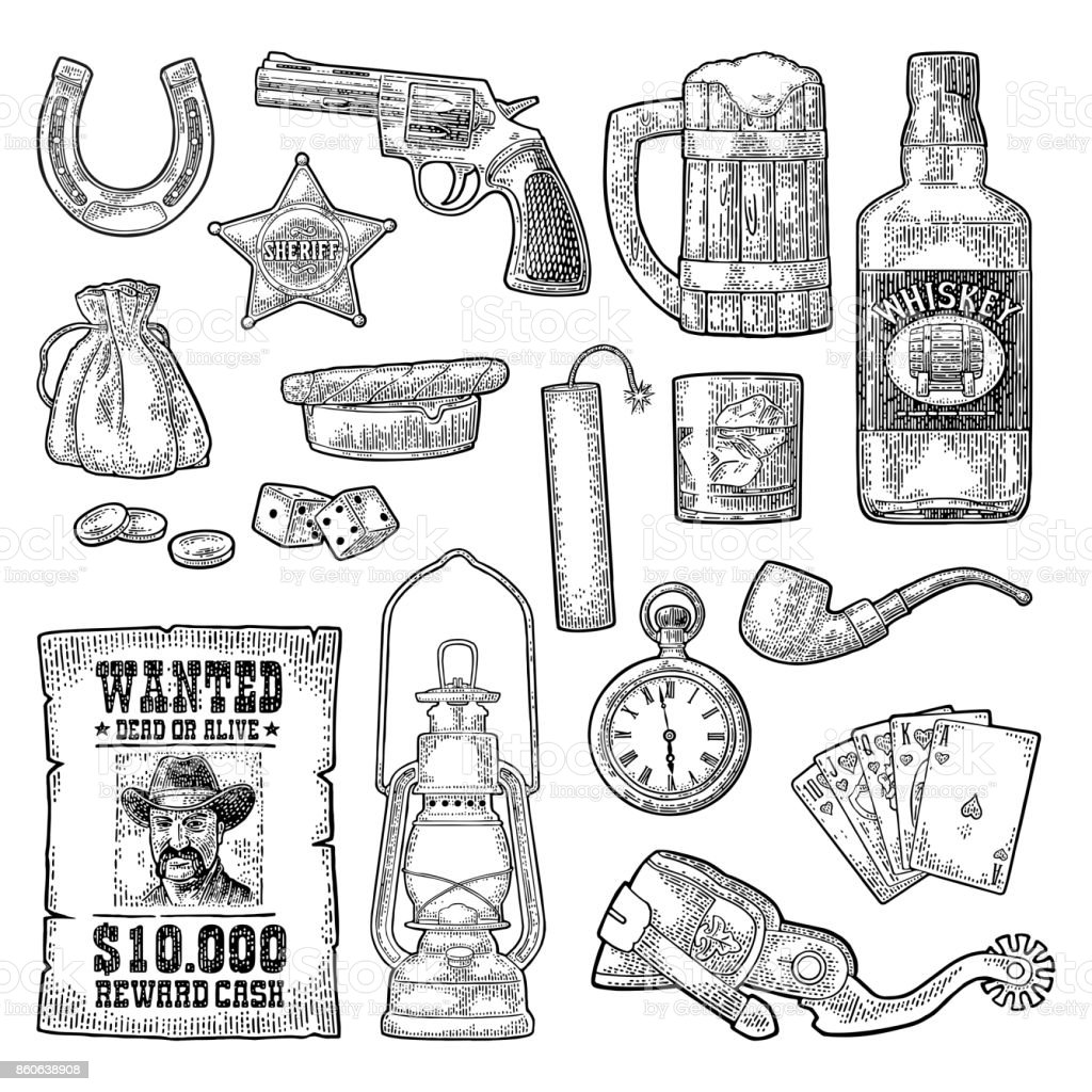 Set With Wild West And Casino Symbols Vector Vintage Engraving Black