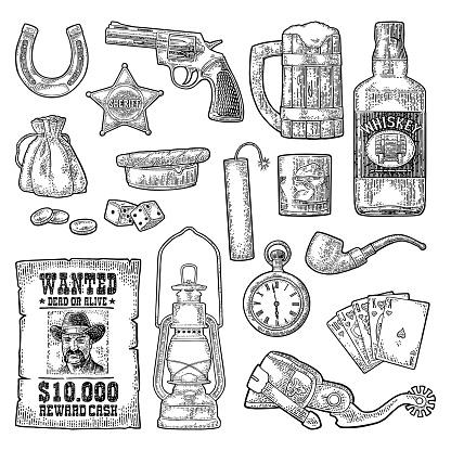 Set with Wild West and casino symbols. Vector vintage engraving black illustration