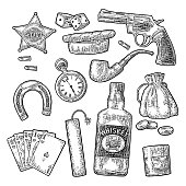 Set with Wild West and lucky symbols. Sheriff star, revolver, dice, horseshoe, whiskey bottle, dynamite stick, money bag, bullet, watch, cigar, coins. Vector vintage black engraving isolated on white