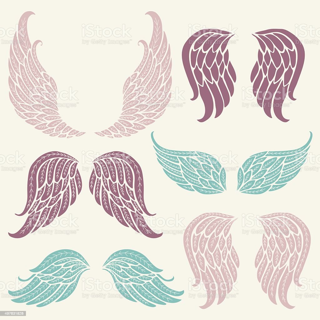 Set with Wings. vector art illustration