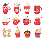 Set with winter hot drinks and dessert. Menu. Collection Christmas with funny cups and mug. Cacao, tea, coffee, milk, cookie, candy. Vector illustration
