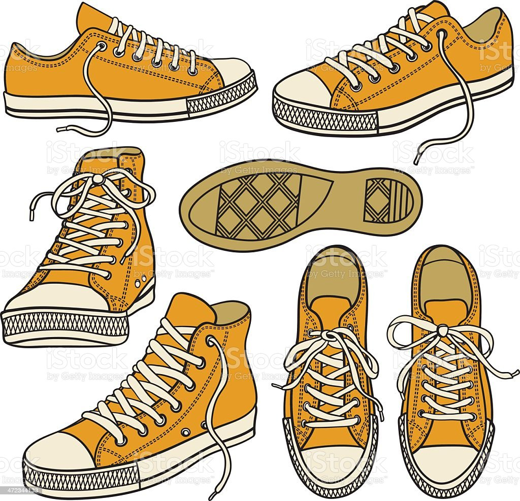 set with yellow sneakers isolated on white vector art illustration