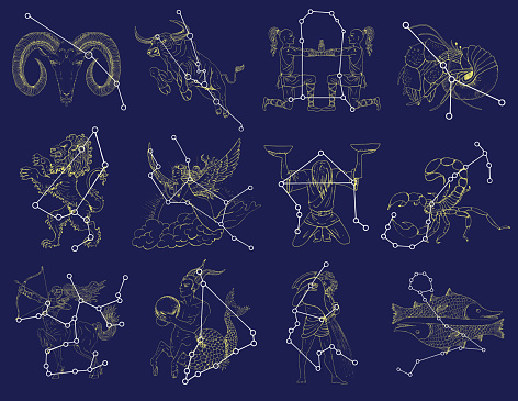 Set with Zodiac symbols and constellations on blue