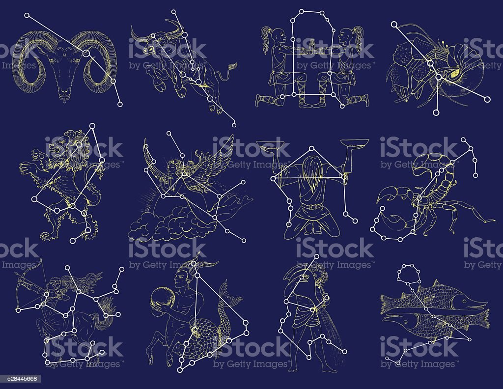 Set with Zodiac symbols and constellations on blue vector art illustration
