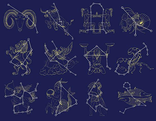 ilustrações de stock, clip art, desenhos animados e ícones de conjunto de símbolos do zodíaco com constelações em azul e - constelação