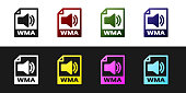 Set WMA file document icon. Download wma button icon isolated on black and white background. WMA file symbol. Wma music format sign. Vector Illustration