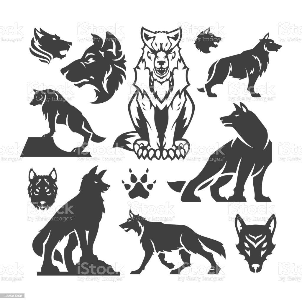 Set Wolfs vector illustrations vector art illustration