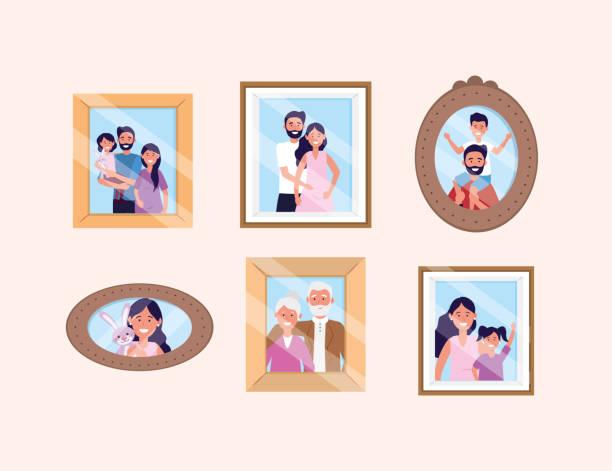 娘と息子の写真で女性と男を設定します - 家族写真点のイラスト素材/クリップアート素材/マンガ素材/アイコン素材