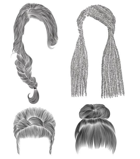 legen sie frau haare. schwarzer bleistift zeichnung skizze .bun babette mit fransen-hairstyle.women-mode-schönheit-stil. afrikanische cornrows. - brotzopf stock-grafiken, -clipart, -cartoons und -symbole