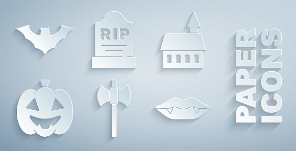 Set Wooden axe, Castle, Pumpkin, Vampire teeth, Tombstone with RIP written and Flying bat icon. Vector