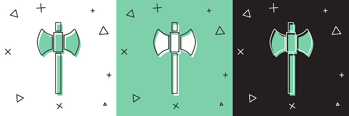 Set Wooden axe icon isolated on white and green, black background. Lumberjack axe. Happy Halloween party. Vector