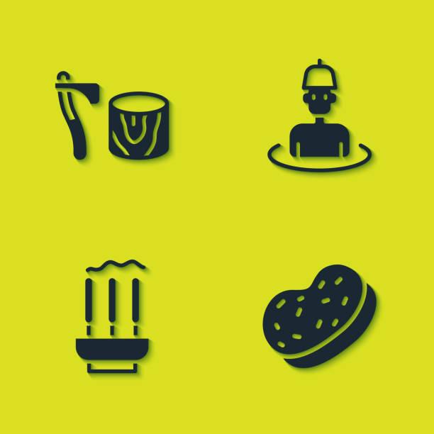 illustrations, cliparts, dessins animés et icônes de placez la hache en bois dans la souche, l'éponge de bain, les bâtons d'encens et l'homme l'icône de sauna. vecteur - man axe wood