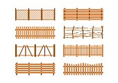 Set Wooden different garden fences. Rural fencing wood boards construction